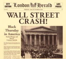 L'articolo annuncia il crollo della Borsa di New York con sede a Wall Street