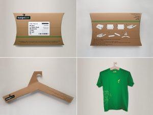 Imballaggio che si trasforma in stampella per abiti