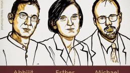 La foto mostra i tre economisti che hanno vinto il Premio Nobel per l'Economia