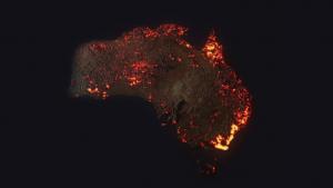 Una foto dall'altro dove possiamo vedere i vari incendi diffusi in Australia