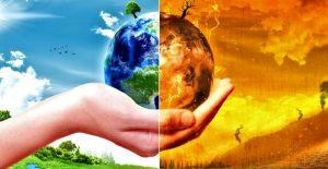 Da un lato il mondo pulito e curato, dall'altro il mondo che brucia per azioni dell'uomo