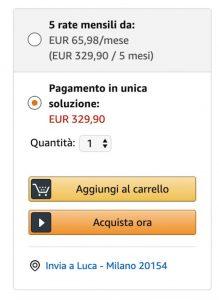 Amazon offre l'opzione dei pagamenti a rate
