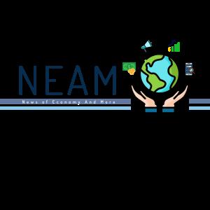 """logo della rubrica """"Neam"""" News of Economy and More, due mani sostengono un planisfero della terra"""